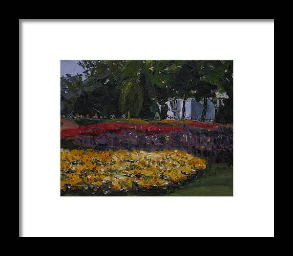 Landscape Framed Print featuring the painting A Park In Cambrige by Piety Choi