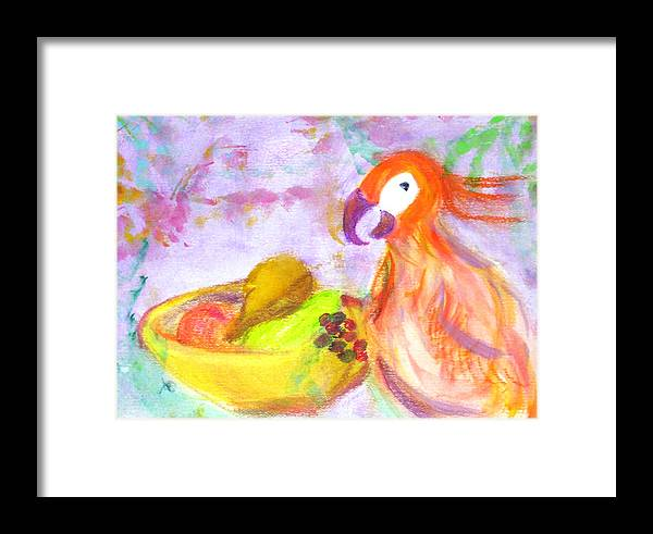 Parrot Framed Print featuring the painting A Parrot And The Passion Fruit by Michela Akers
