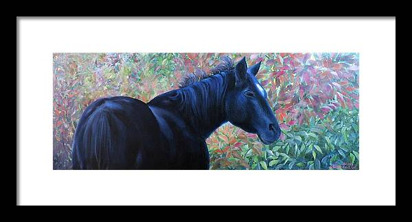 Lori Macdonald Framed Print featuring the painting A Passing Glance From Hero by Lori MacDonald