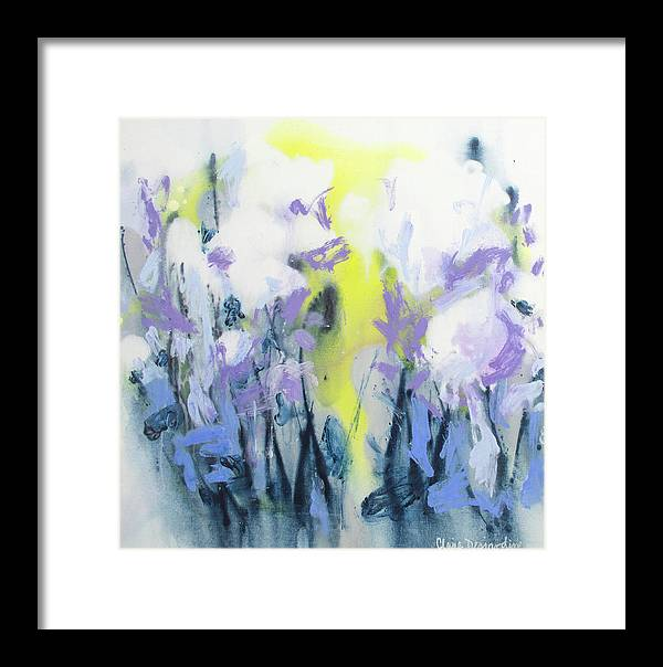 Abstract Framed Print featuring the painting A Patch Of Purple by Claire Desjardins