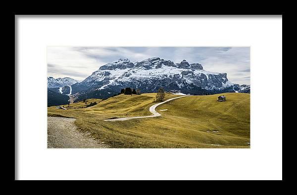 Alta Badia Framed Print featuring the photograph A Path In The Dolomites - Alta Badia, Italy - Landscape Photogra by Giuseppe Milo
