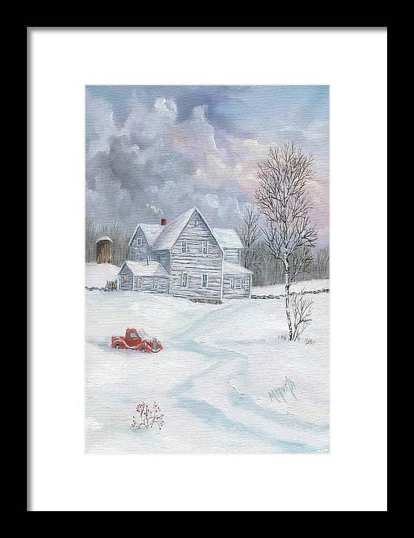 Landscape Snow Landscape Framed Print featuring the painting A Peaceful Day by Marveta Foutch