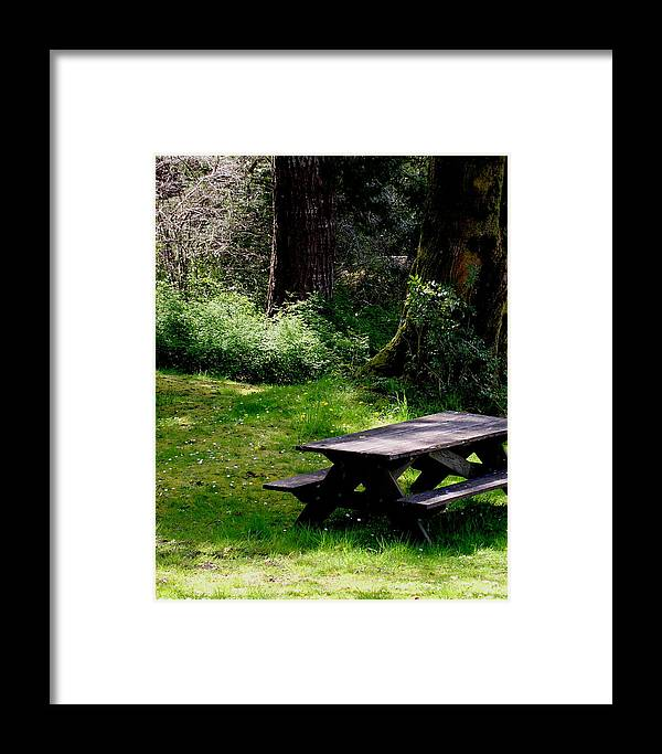 Picnic Table Framed Print featuring the painting A Peaceful Place by Valerie Josi