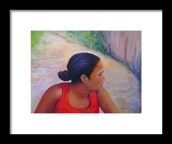Portrait Framed Print featuring the painting A Penny for Your Thoughts by Merle Blair