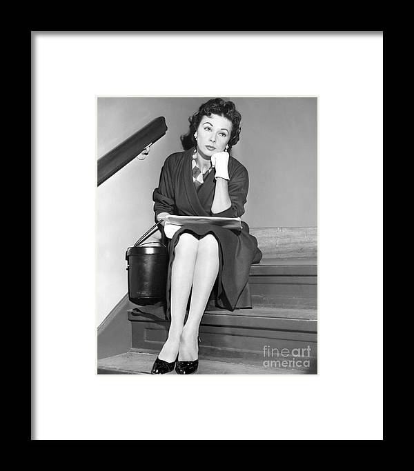 Lisa Ferraday; New York Post Print; New York Post; Black And White Photo; Actor; Actress; Anthony Calvacca Framed Print featuring the photograph A Pensive Look From Lisa Ferraday. by Anthony Calvacca