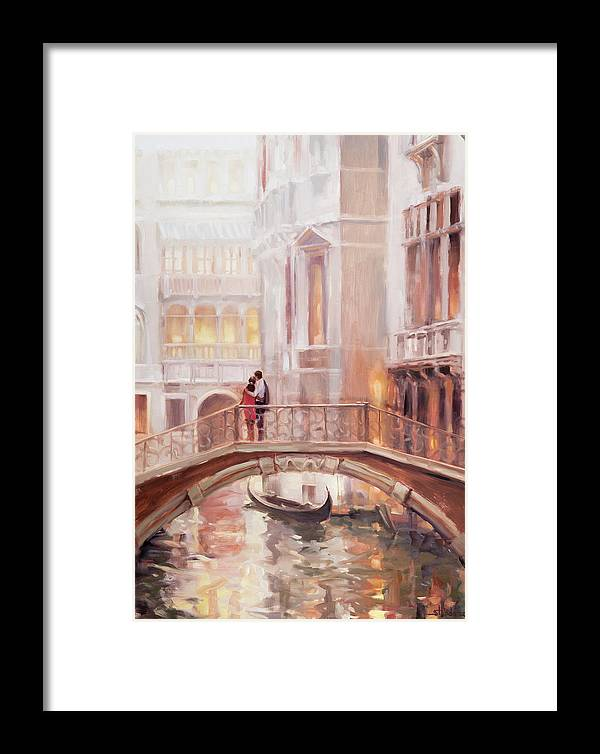 Romantic Framed Print featuring the painting A Perfect Afternoon In Venice by Steve Henderson
