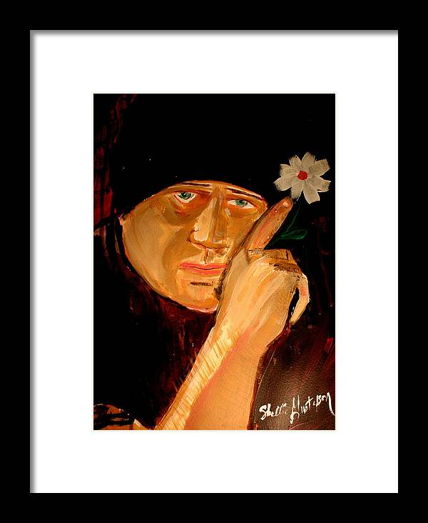 Man Artist Flower Daisy Finger Framed Print featuring the painting A Potrait Of An Artist by Shellie Gustafson