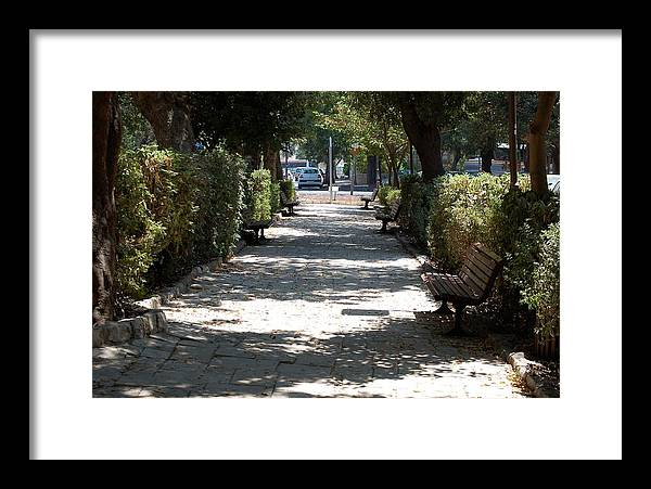 Israel Framed Print featuring the photograph A Promenade In Rehavia by Susan Heller