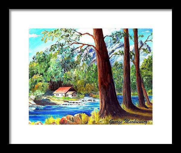Lake Framed Print featuring the print A Quiet Place by George Markiewicz
