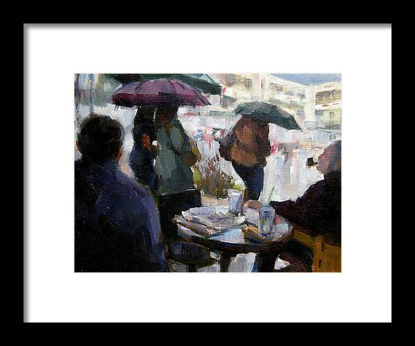 Urban Framed Print featuring the painting A Rainy Day At Starbucks by Merle Keller