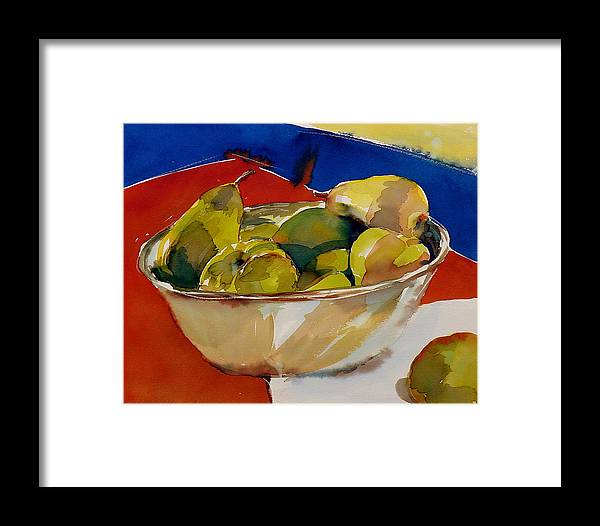 Pears Framed Print featuring the painting A Reflection On Pears by Doranne Alden