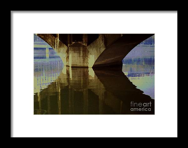 Reflective Art Lyon France River Saonne Water Travel Film Stock Architectural Bridge Stock Shot Tranquil Meditation Wood Print Canvas Print Poster Print Metal Frame Available On Greeting Cards Throw Pillows Tote Bags Mugs Phone Cases Shower Curtains T Shirts Pouches And Weekender Tote Bags Framed Print featuring the photograph A Reflective Moment In Lyon by Marcus Dagan