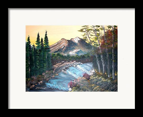 Landscape Framed Print featuring the painting A River Runs Through It by Sheldon Morgan