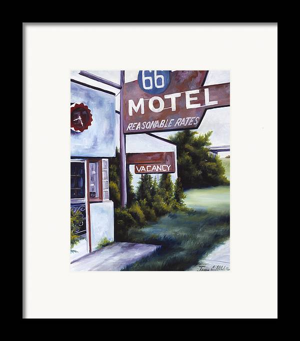 Motel; Route 66; Desert; Abandoned; Delapidated; Lost; Highway; Route 66; Road; Vacancy; Run-down; Building; Old Signage; Nastalgia; Vintage; James Christopher Hill; Jameshillgallery.com; Foliage; Sky; Realism; Oils Framed Print featuring the painting A Road Less Traveled by James Christopher Hill