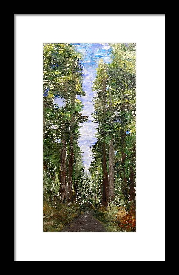 Landscape Framed Print featuring the painting A Road Seldom Traveled by Deborah Gall