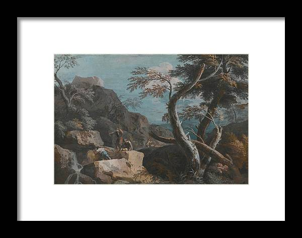 Marco Ricci A Rocky Wooded Landscape With Three Peasants At A Waterfall Framed Print featuring the painting A Rocky Wooded Landscape With Three Peasants by Marco Ricci