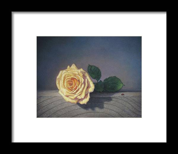 Yellow Rose Framed Print featuring the pastel A Rose For The Little Lady by Rita Romero