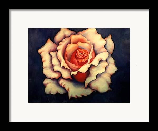 Flower Framed Print featuring the painting A Rose by Jordana Sands