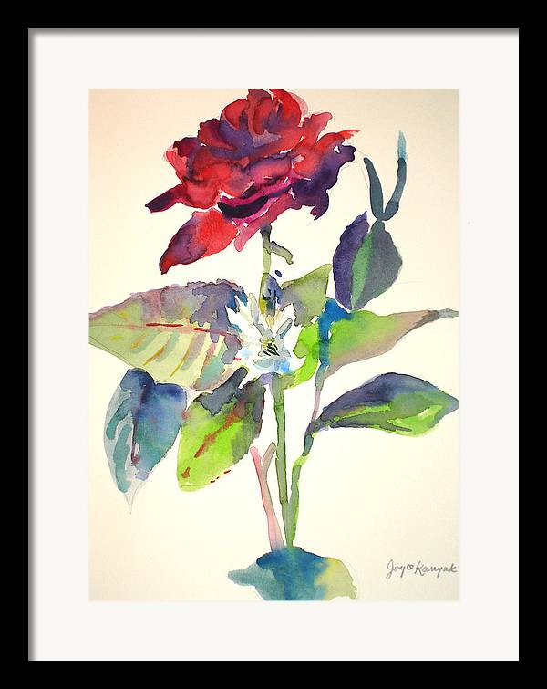 Rose Framed Print featuring the painting A Rpse by Joyce Kanyuk
