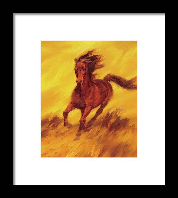 A Running Horse Framed Print featuring the painting A Running Horse by Zhan Jianjun