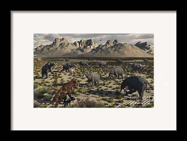 Digitally Generated Image Framed Print featuring the digital art A Sabre-toothed Tiger Stalks A Herd by Mark Stevenson