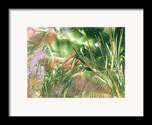Abstract Encaustic Framed Print featuring the painting A Secret Forest by Heather Hennick