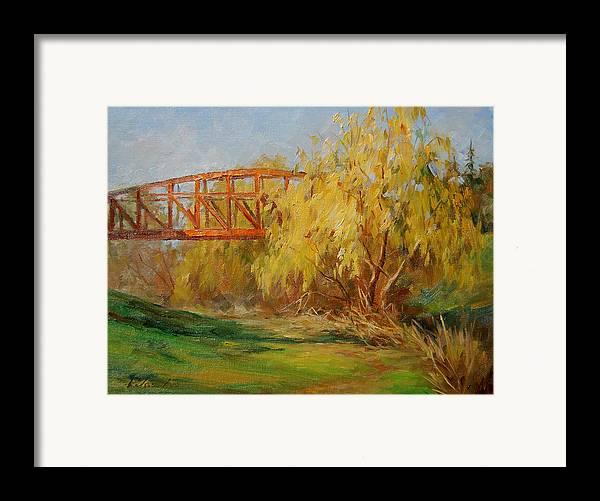 Landscape Framed Print featuring the painting A Secret Little Red Bridge by Kelvin Lei