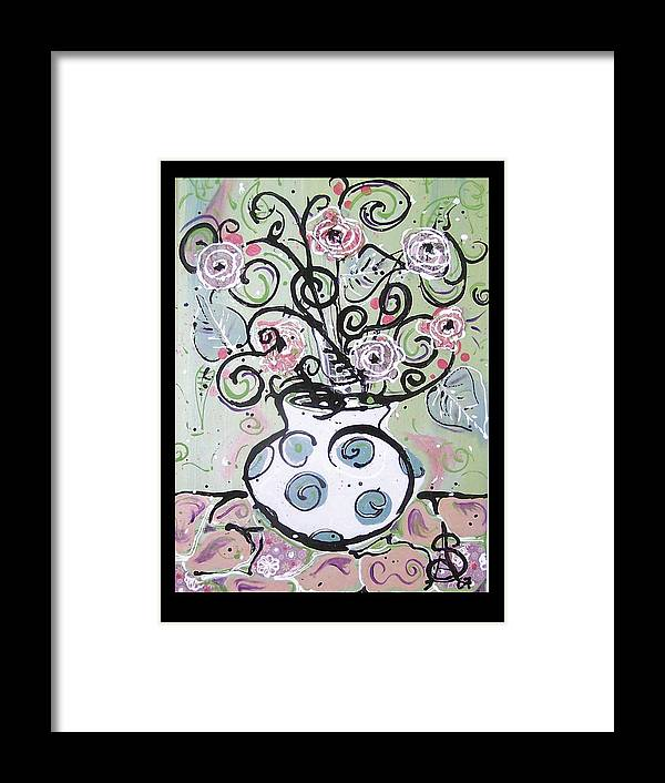 Floral Framed Print featuring the painting A Shabby Rendition by Amanda Sanford