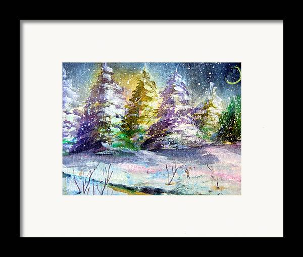 Christmas Framed Print featuring the painting A Silent Night by Mindy Newman