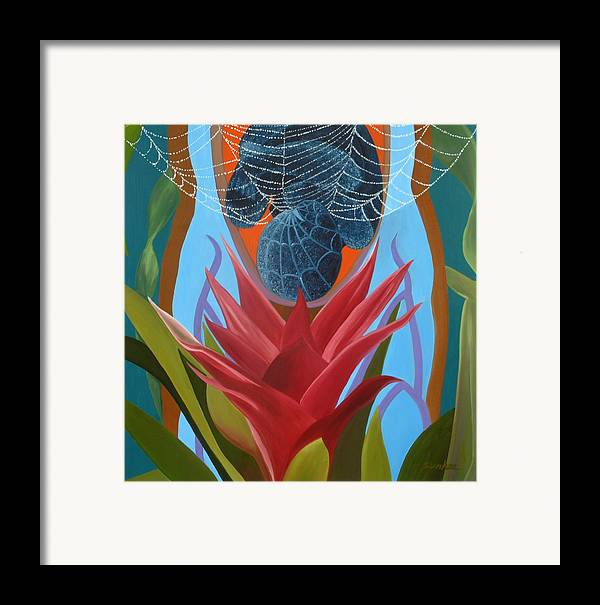 Spider Framed Print featuring the painting A Spider Baby by Sunhee Kim Jung