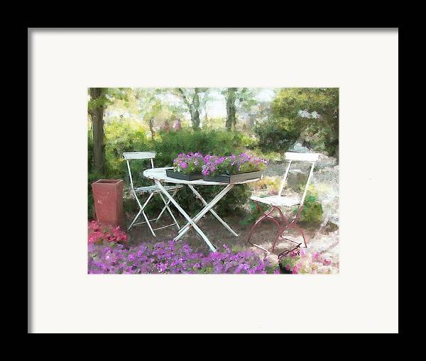 Country Rural Flower Summer Tea Painting Teatime Garden Shade Friends Sargent Oil Table Framed Print featuring the painting A Spot For Tea by Eddie Durrett