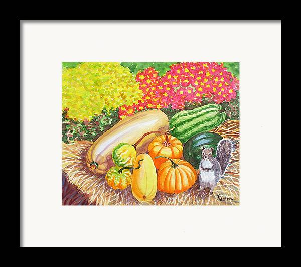 Watercolor Framed Print featuring the painting A Squirrel And Pumpkins.2007 by Natalia Piacheva