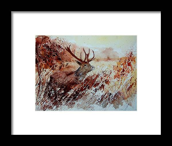 Animal Framed Print featuring the painting A Stag by Pol Ledent