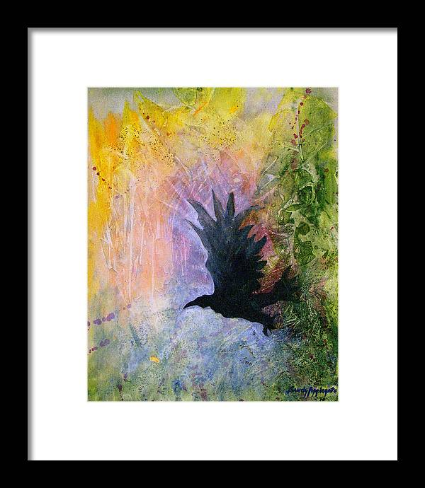 Raven Framed Print featuring the painting A Stately Raven by Sandy Applegate