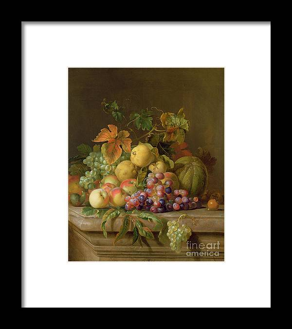 Still Framed Print featuring the painting A Still Life Of Melons Grapes And Peaches On A Ledge by Jakob Bogdani
