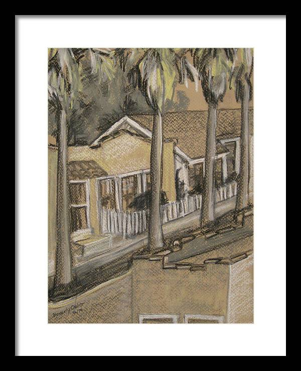 Charcoal Black White Tan Canvas Prints Digital Street Palm Trees Framed Print featuring the painting A Street In California by Beverly Trivane
