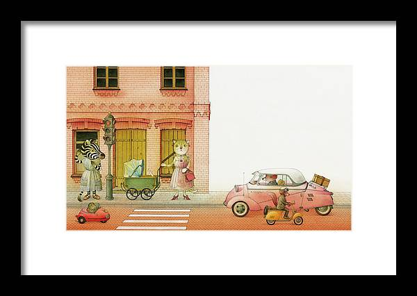 Striped Zebra Cat Cars Street Traffic Old Town Red Children Illustration Book Animals Framed Print featuring the drawing A Striped Story02 by Kestutis Kasparavicius