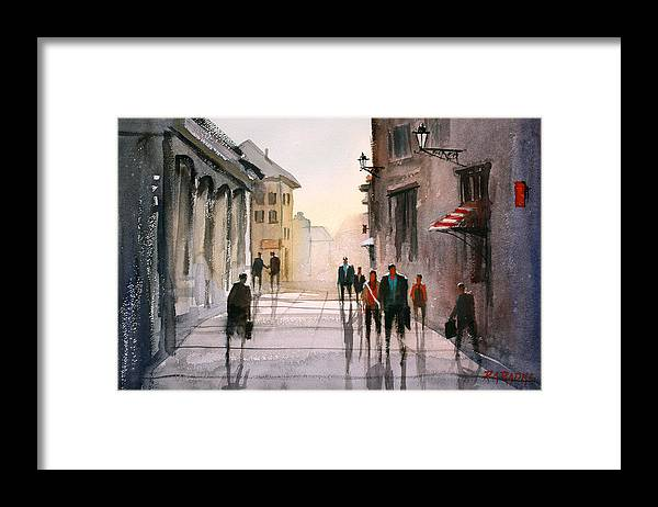 Cityscape Framed Print featuring the painting A Stroll In Italy by Ryan Radke