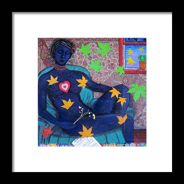Woman Framed Print featuring the painting A sudden gust of wind blows a rhapsody in blue by Susan Stewart