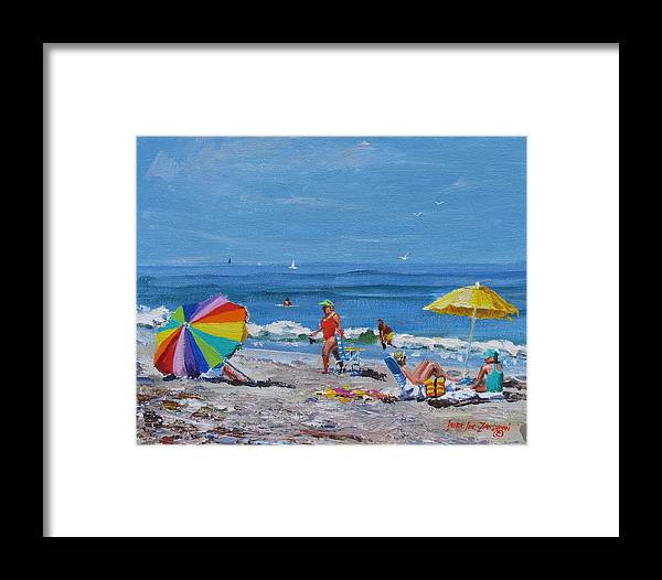 Beach Scene Framed Print featuring the painting A Summer by Laura Lee Zanghetti
