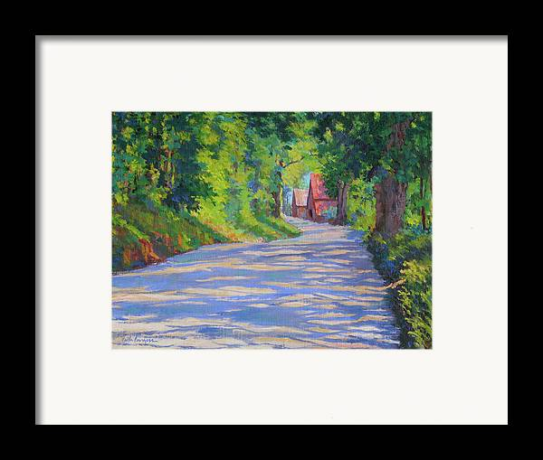 Landscape Framed Print featuring the painting A Summer Road by Keith Burgess