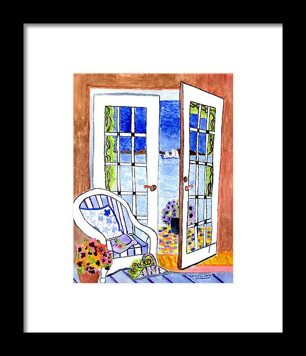 Ocean Scene Framed Print featuring the painting A Summers Afternoon by Connie Valasco
