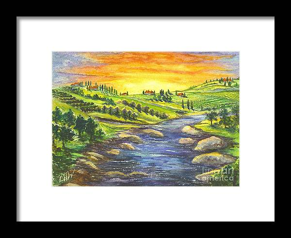 California Framed Print featuring the painting A Sunset In Wine Country by Carol Wisniewski