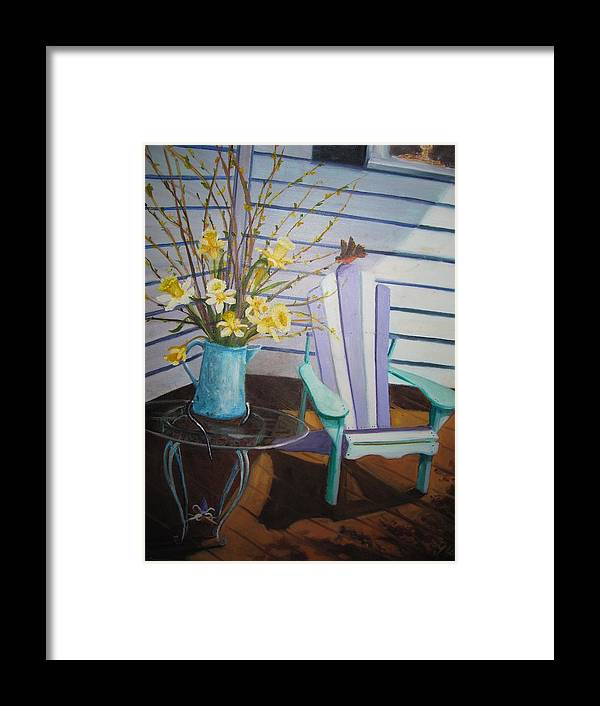 Porch Framed Print featuring the painting A Surpise Visitor by Gloria Condon