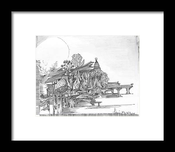 Landscape Framed Print featuring the drawing A Temple A Building And Some Trees by Padamvir Singh