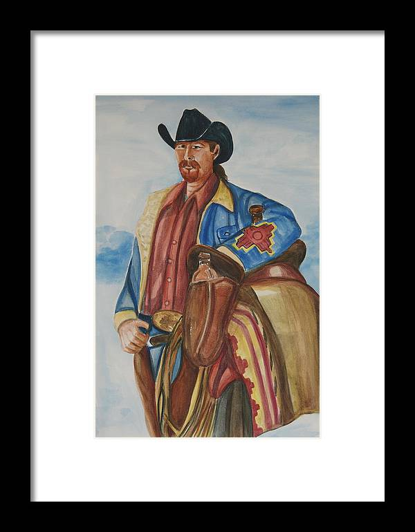 Cowboy Art Framed Print featuring the painting A Texas Horseman by George Chacon