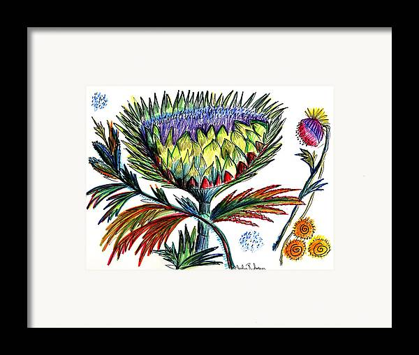 Flowers Framed Print featuring the painting A Thistle by Julie Richman