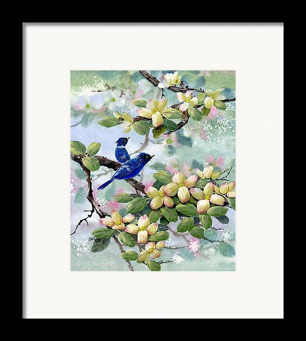 Blue Jays Framed Print featuring the painting A Touch Of Pink On White by Eileen Fong