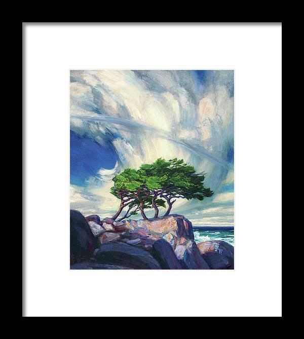 A Tree On The Seashore Reef Framed Print featuring the painting A Tree On The Seashore Reef by Zhan Jianjun