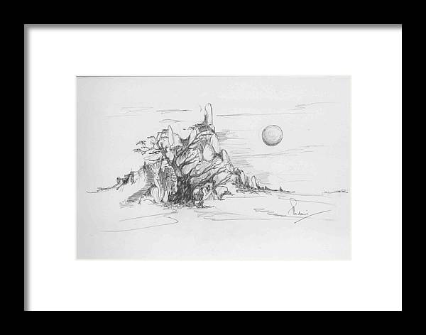 Nature Framed Print featuring the drawing A Tree Rocks And The Sun by Padamvir Singh